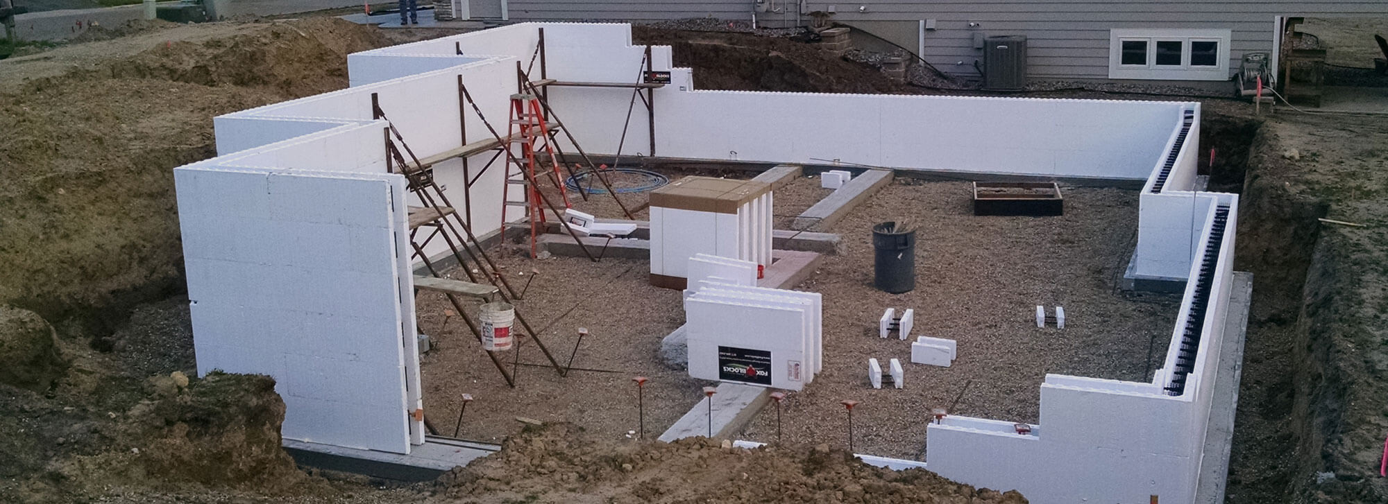 ICF house foundation being constructed and poured by Van Haren Construction
